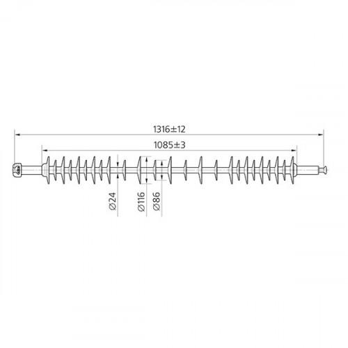 Полимерные изоляторы линейные подвесные стержневые ЛК 70